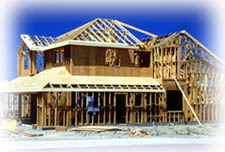 unfinished framing of two story home